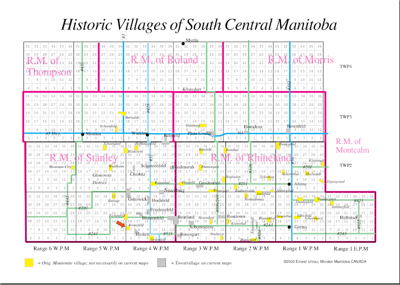 PNG southern manitoba villages map large